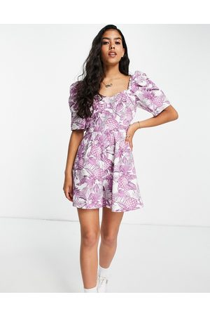 ASOS Sweetheart neckline playsuit in lilac pineapple print-Multi