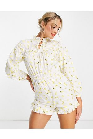 Glamorous Damen Jumpsuits - Long sleeve playsuit in yellow floral
