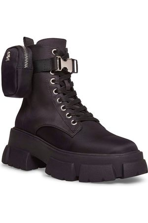 Steve Madden Tanker-P chunky lace up boots with removable pouch in black