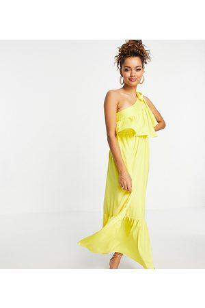 Y.A.S One shoulder midi dress in lemon-Yellow