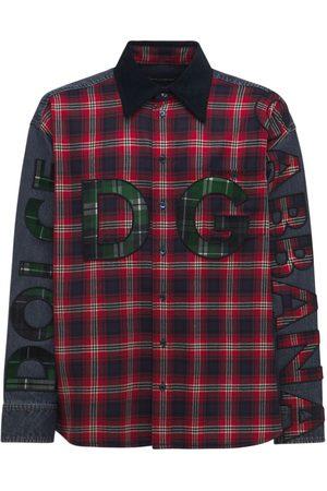 Dolce & Gabbana Herren Denim - Oversized Hemd Aus Flanell Und Denim Mit Logodruck