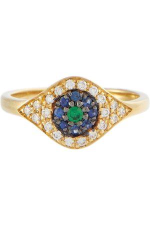 Ileana Makri Ring Cats Eye aus 18kt Gelbgold mit Diamanten, Saphiren und Tsavorit