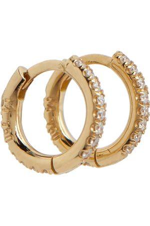 Ileana Makri Damen Ohrringe - Creolen Mini aus 18kt Gelbgold mit Diamanten