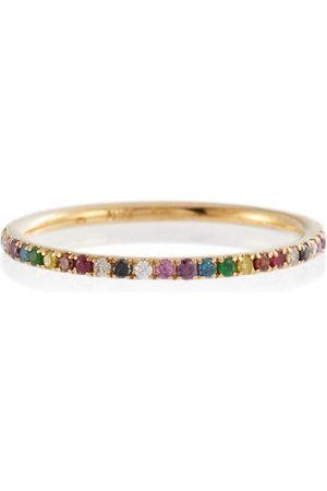 Ileana Makri Damen Ringe - Ring Thread Band aus 18kt Gelbgold mit Diamanten, Rubinen und Saphiren