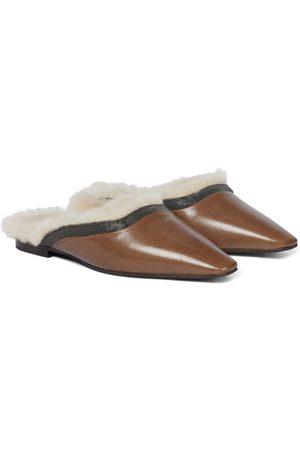 Brunello Cucinelli Slippers aus Leder und Shearling