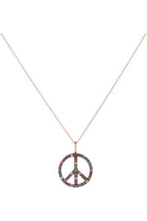 Ileana Makri Halskette Peace Symbol aus 18kt Roségold mit Diamanten
