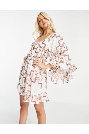 ASOS 70s sleeve mini dress in floral print-Multi