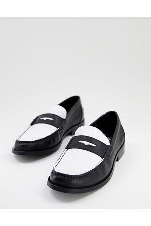 ASOS Loafers in black and white leather with black sole
