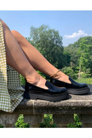 ASOS Mutton slipper flat shoes in black patent
