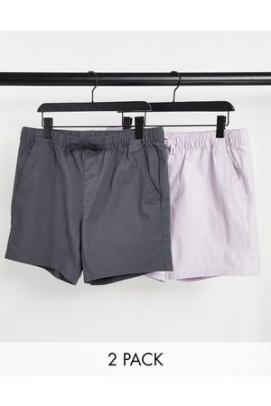ASOS 2 pack skinny shorts with elasticated waist in lilac and charcoal save-Multi