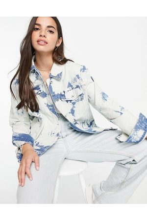 Skylar Rose Oversized tie dye denim jacket-Blue