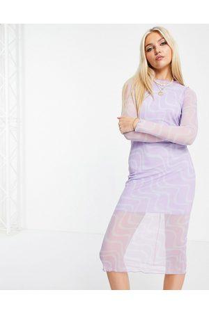ASOS Mesh long sleeve midi dress in purple swirl print