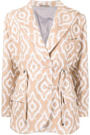 Lisa von Tang Damen Blazer & Sakkos - Abstract-pattern drawstring blazer