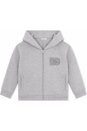 Dolce & Gabbana Jungen Shirts - Logo-embroidered cotton hoodie