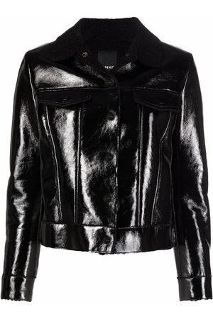 Pinko Damen Lederjacken - Contrasting-collar high-shine jacket