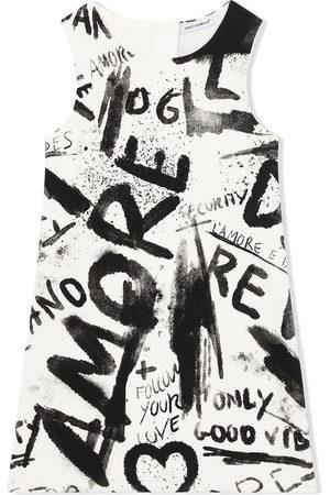 Dolce & Gabbana Mädchen Bedruckte Kleider - Graffiti-print shift dress