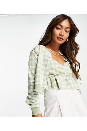River Island Gingham check cami and cardigan set in green