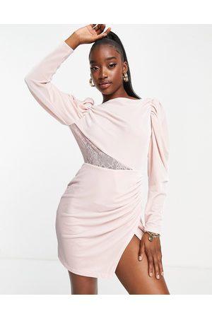 Saint Genies Cowl back long sleeve dress in pink