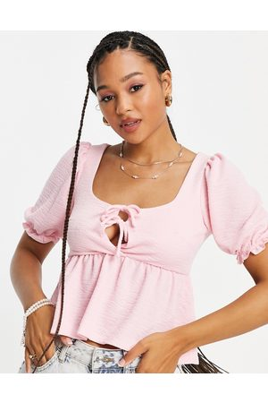 Miss Selfridge Short Sleeve Textured Tie Front Top-Pink