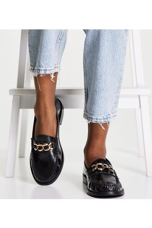 ASOS Damen Halbschuhe - Wide Fit Method leather loafers with chain in black