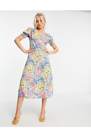 Influence Tiered midi dress with strappy back in retro floral print-Multi