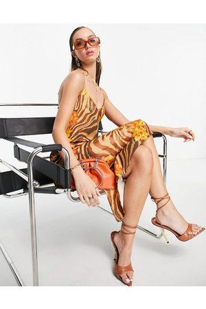 ASOS Damen Bedruckte Kleider - Tropical print midi slip dress-Multi