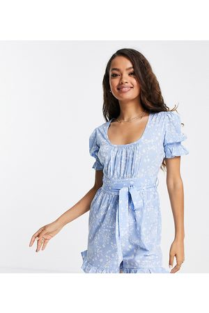 Influence Petite Playsuit in blue floral print