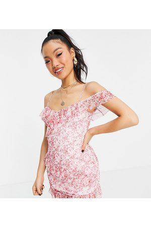 Miss Selfridge Mesh mini dress in ditsy print-White