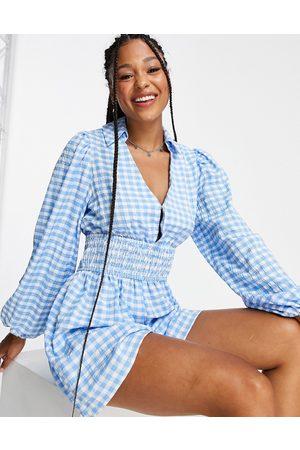ASOS Plunge collared shirt playsuit in blue gingham-Multi