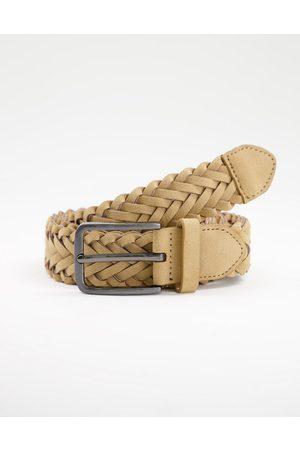 New Look Herren Gürtel - Braided weave belt in stone-Neutral