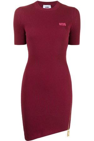 GCDS Damen Kurze Ärmel - Short-sleeve asymmetric T-shirt dress