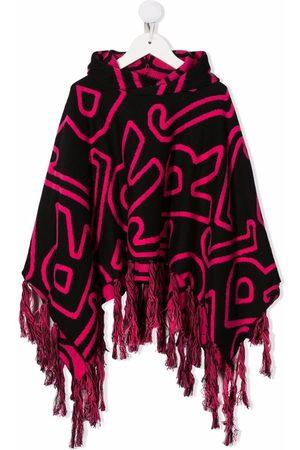 John Richmond Junior Monogram-patterned cape hoodie