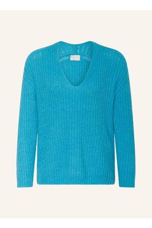 Mrs & HUGS Damen Strickpullover - Pullover Mit Alpaka blau