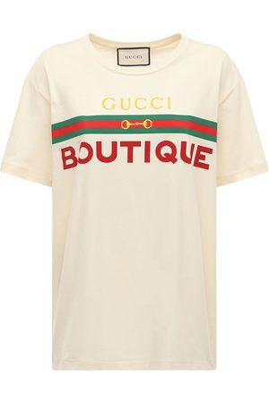 Gucci Bedrucktes T-shirt Aus Baumwolljersey