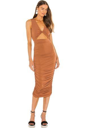 Michael Costello X REVOLVE April Midi Dress in - Rust. Size L (also in XXS, XS, S, M, XL).