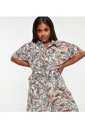 Noisy May Damen Jumpsuits - Shirt playsuit in tropical print-Multi