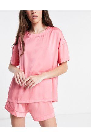 ASOS DESIGN Mix & match satin pyjama tee in pink