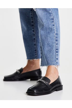 ASOS DESIGN Marcia leather square toe loafers with chain in black