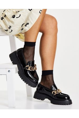 ASOS DESIGN Wide Fit Mai chunky chain loafers in black patent
