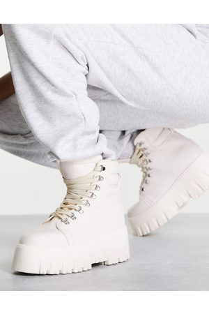 ASOS Anastasia chunky hiker lace up boots in white