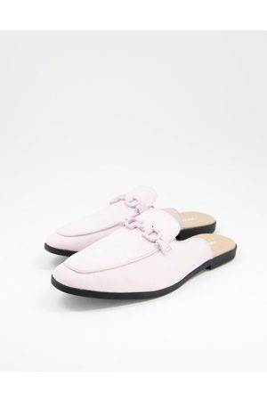 ASOS Backless mule loafer in lilac faux leather with snaffle-Purple
