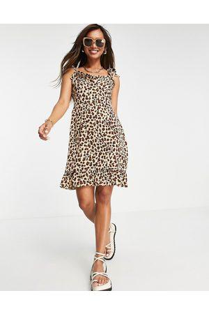 Urban Threads Tie strap satin mini dress in leopard print-Multi