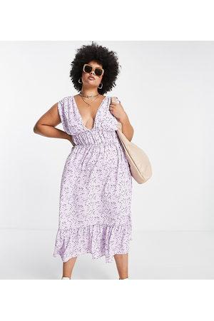 ASOS Damen Bedruckte Kleider - ASOS DESIGN Curve ruched waist midi tea dress in floral print-Multi