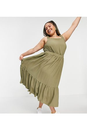 ASOS ASOS DESIGN Curve ruched back tiered midaxi sundress in khaki-Green