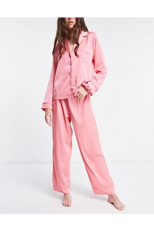 ASOS DESIGN Damen Schlafanzüge - Mix & match satin pyjama trouser with neon piping in pink