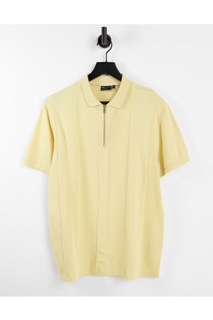 ASOS Herren Poloshirts - Cut and sew pique zip polo in washed yellow