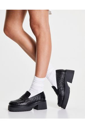 ASOS Moral leather chunky loafer in black croc