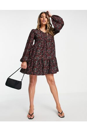 In The Style Jac Jossa ditsy floral smock dress in red
