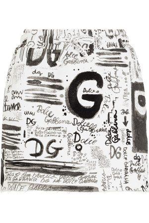 Dolce & Gabbana Damen Bedruckte Röcke - All over logo-print mini skirt