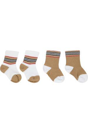 Burberry Baby Set aus 2 Paar Socken aus Jersey